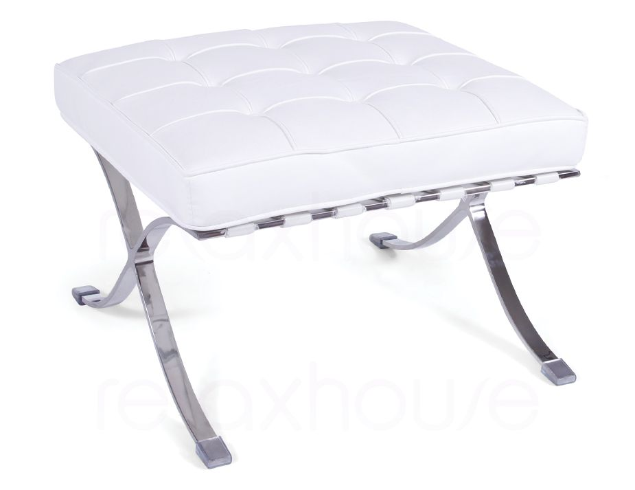 Barcelona chair ottoman white leather for Best barcelona chair replica