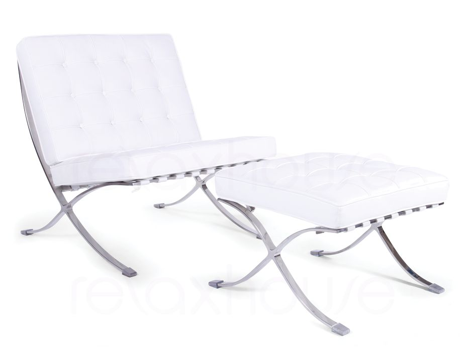 Barcelona Chair Amp Ottoman White Leather