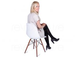 Eames DSW Chair White Dark Wood 1