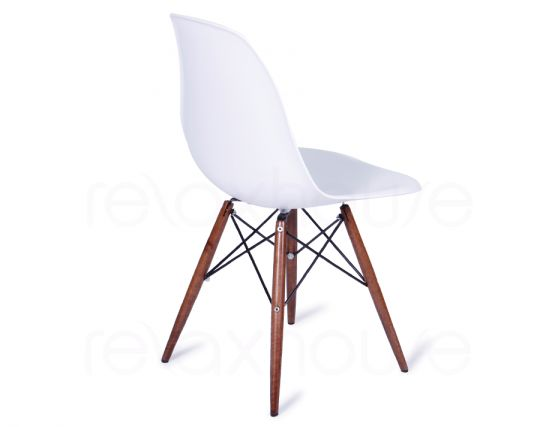 Eames DSW Chair White Dark Wood