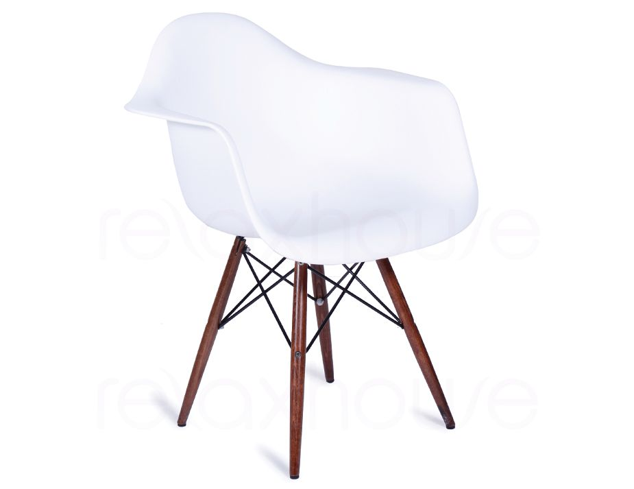 Replica eames wing daw white arm chair dark timber legs for Eames plastic armchair daw replica