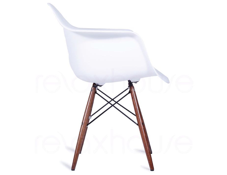 replica eames wing daw white arm chair dark timber legs. Black Bedroom Furniture Sets. Home Design Ideas