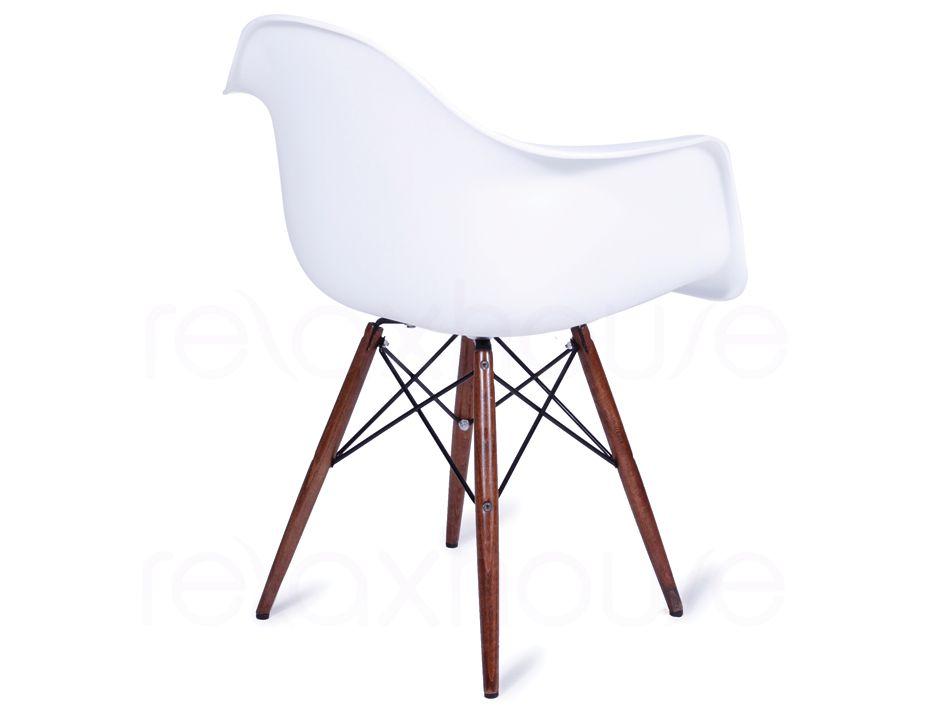 replica eames wing daw white arm chair dark timber legs