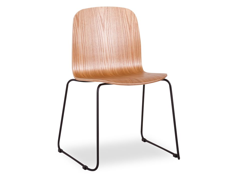 Flip Chair Stacking Black Steel Timber Seat