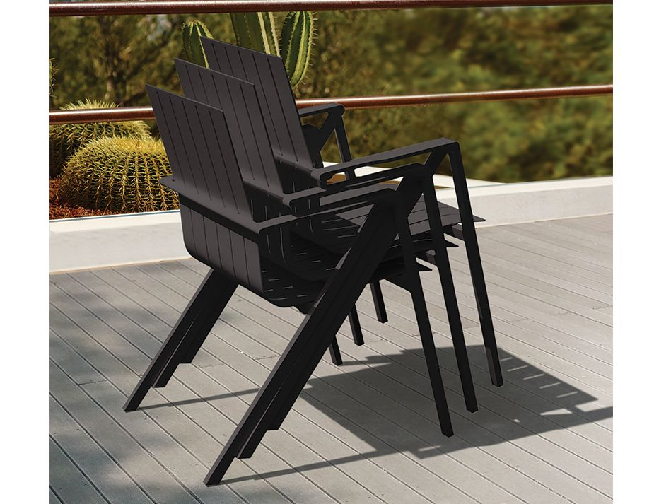 Naxos Chair Charcoal Stacked