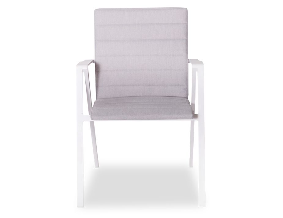 Naxos Outdoor Padded Arm Chair White Aluminium