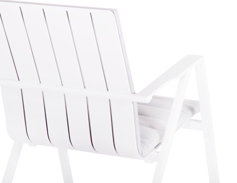 Naxos Padded Arm Chair White Aluminium
