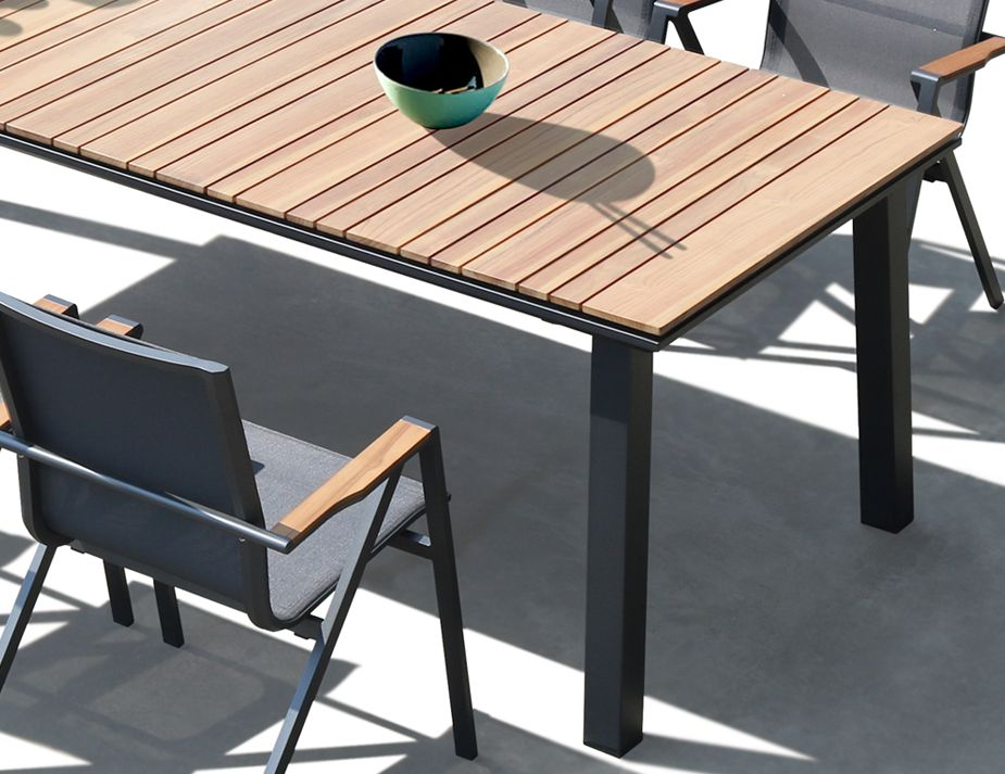 Naxos Outdoor Solid Teak Table 240cm X 100cm Charcoal