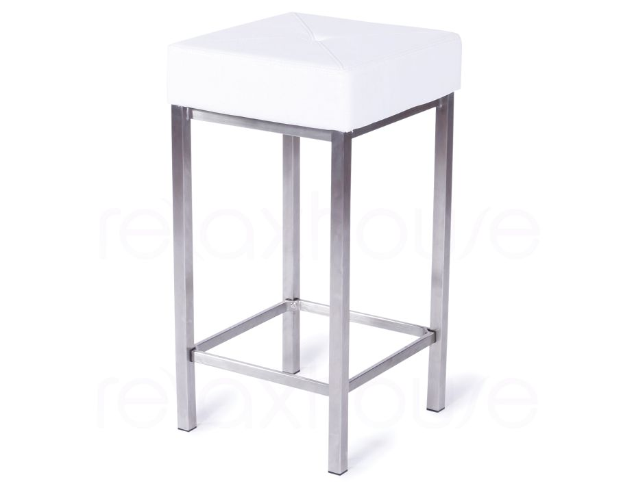 White Designer Kitchen Bar Stool Backless