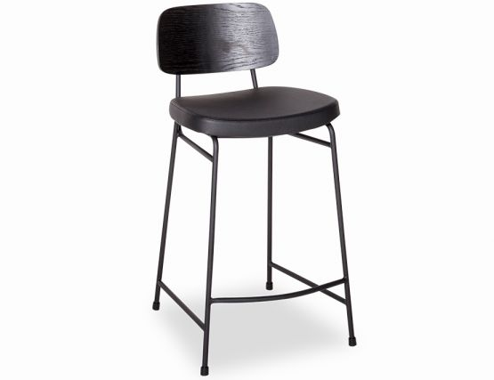 Archie Padded Stool Black Frame Timber Seat