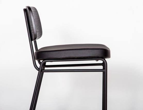 Archie Stool Matte Black Frame With Black Paddedr Seat