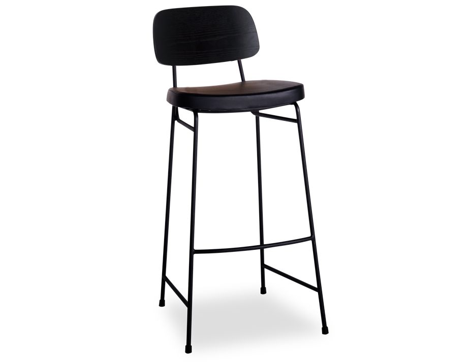 Archie Padded Stool Black Frame Timber Seat 65cm