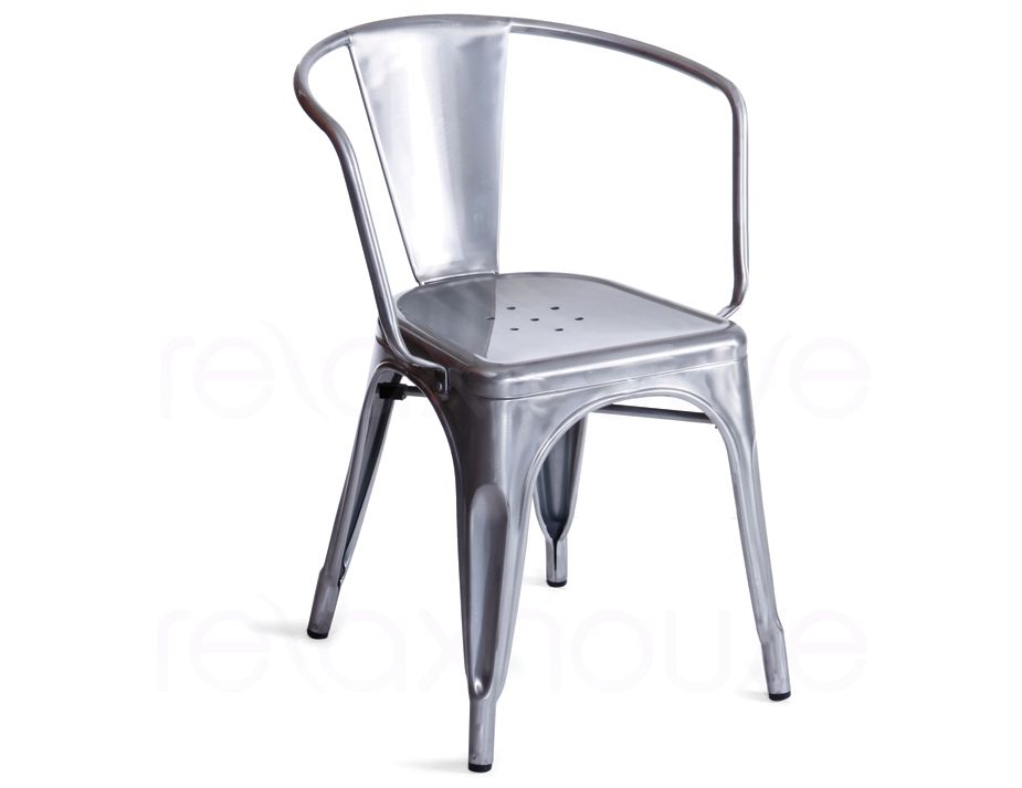 tolix replica galvanised arm chair. Black Bedroom Furniture Sets. Home Design Ideas