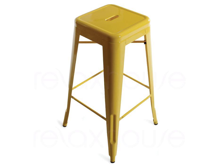 Designer Yellow Tolix Stool Replica 75cm Modern
