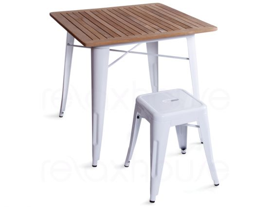 White Tolix Stool With Table