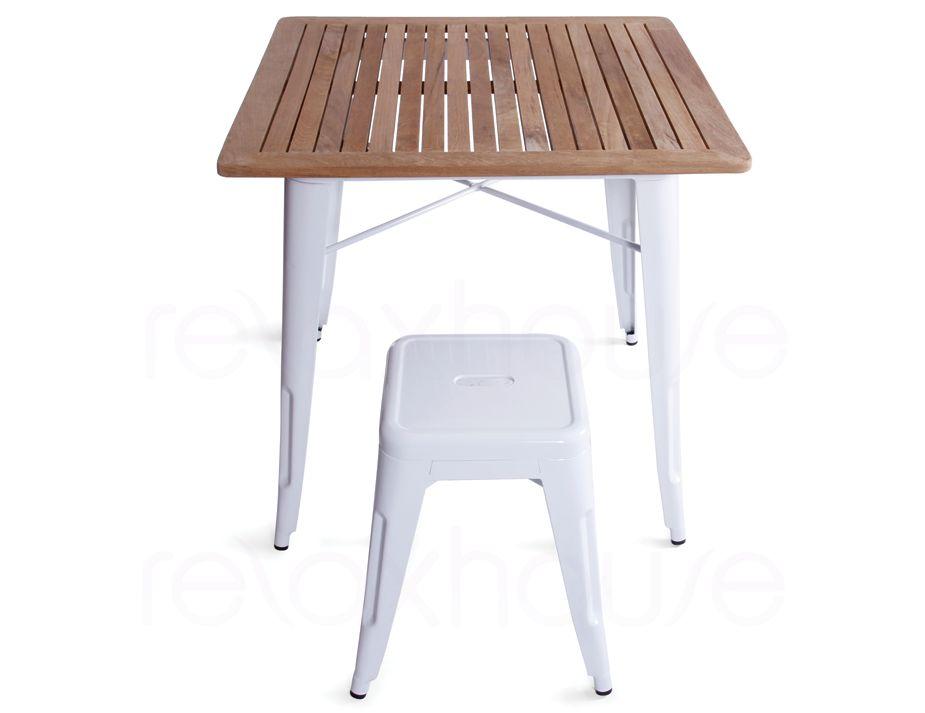 White tolix table replica teak wood for Table exterieur tolix