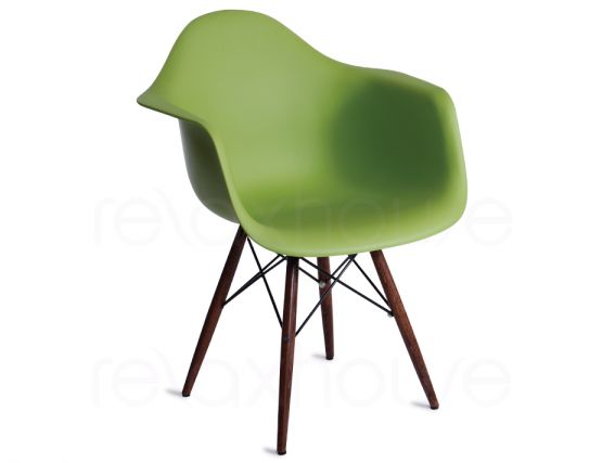 397_Eames DAW Green Dark Timber Legs