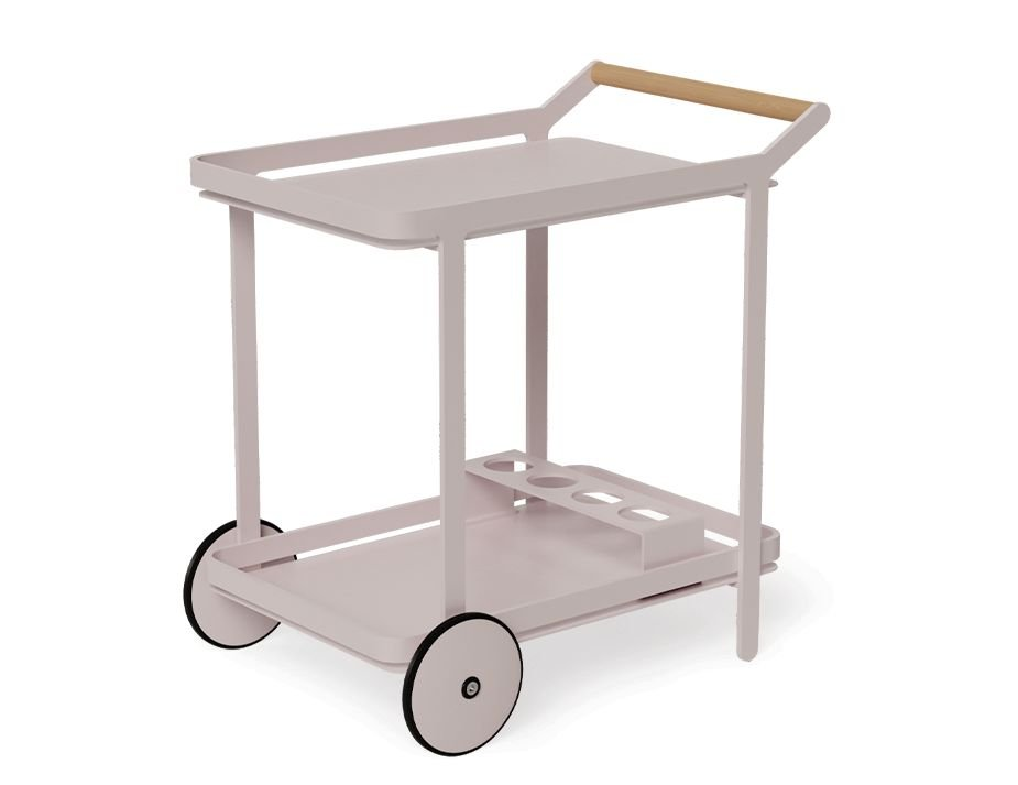 Pink Teak Bar Cart Trolley Quality