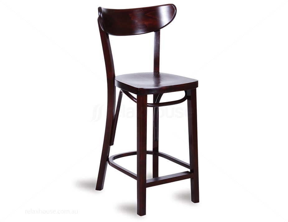Bentwood Breakfast Bench Wood Bar Stool Dark Brown
