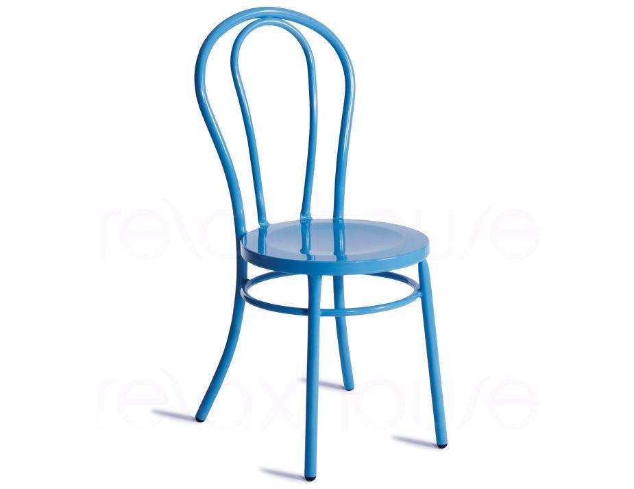Blue Thonet Chair Bentwood Galvanized Steel