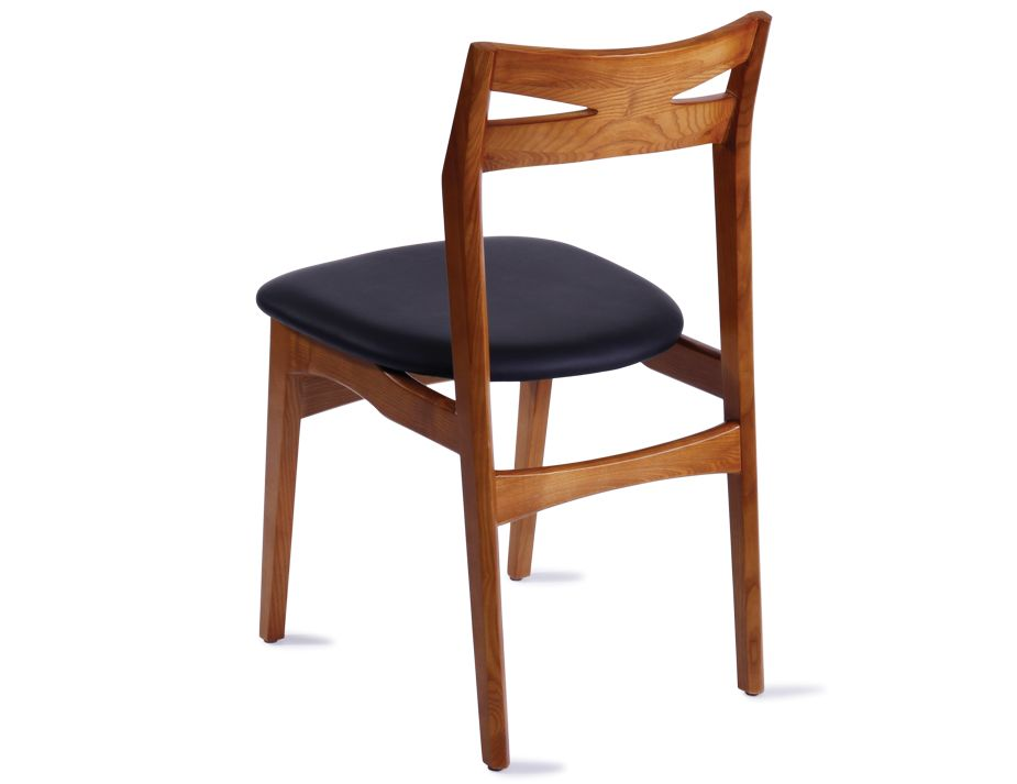 Laak danish designer timber dining chair stained for Designer leather dining chairs