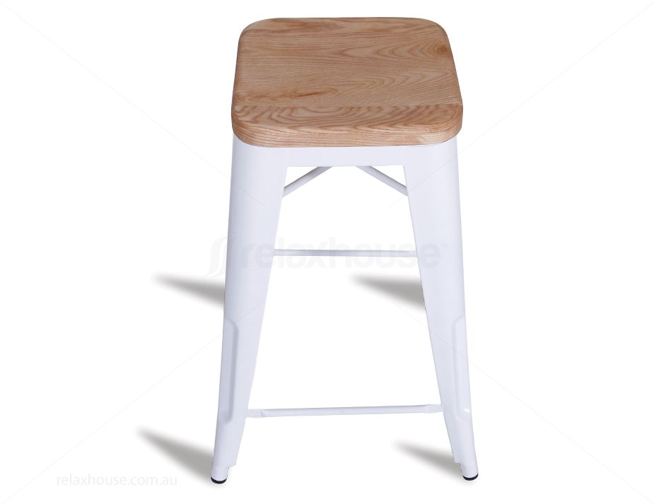 White Replica 65cm Tolix Stool Solid Wood Seat