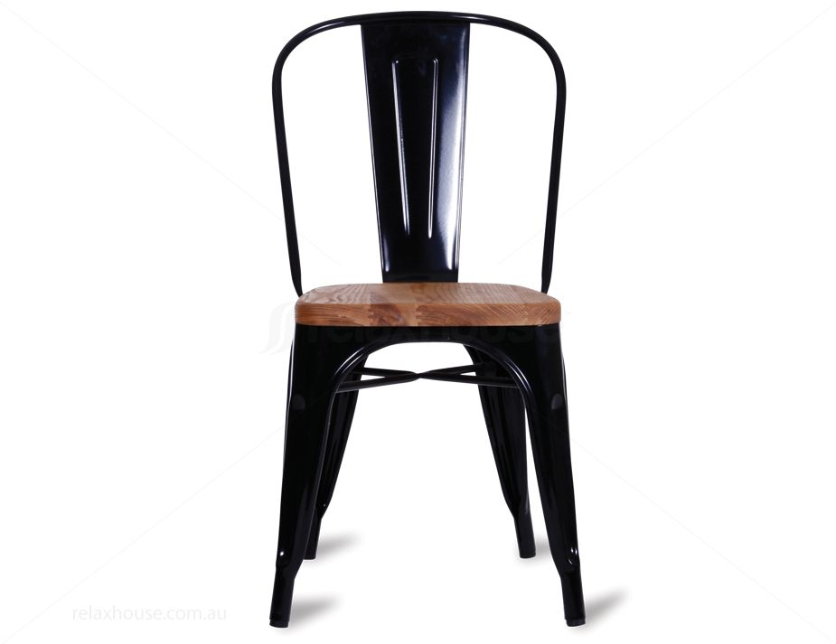 Wooden Tolix Chair In Black