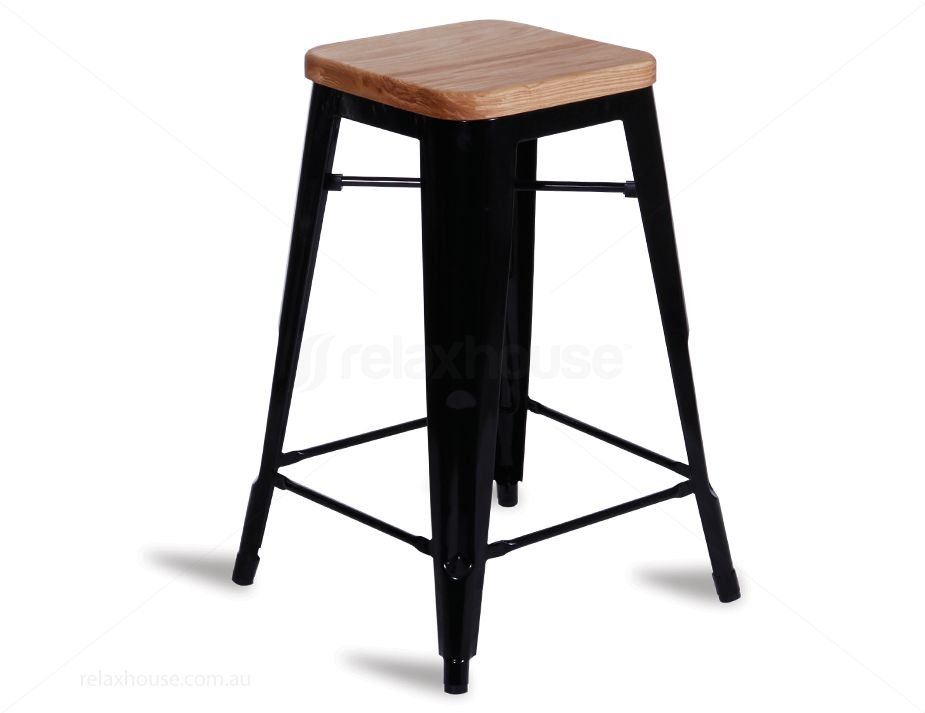 65cm black tolix stool replica wood seat. Black Bedroom Furniture Sets. Home Design Ideas