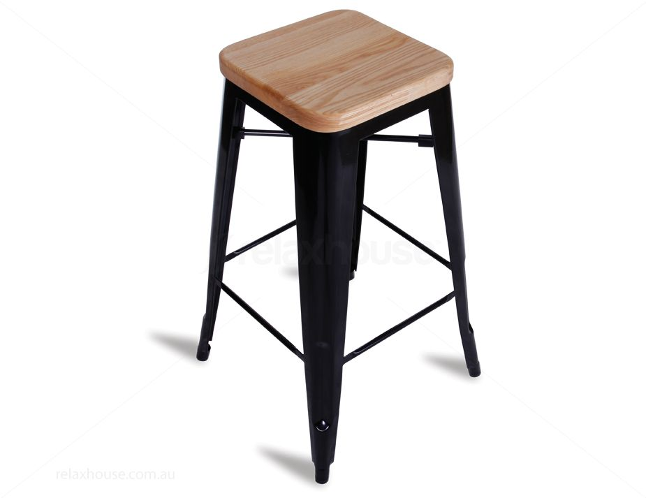 Solid Wood Seat Tolix Bar Stool In Black