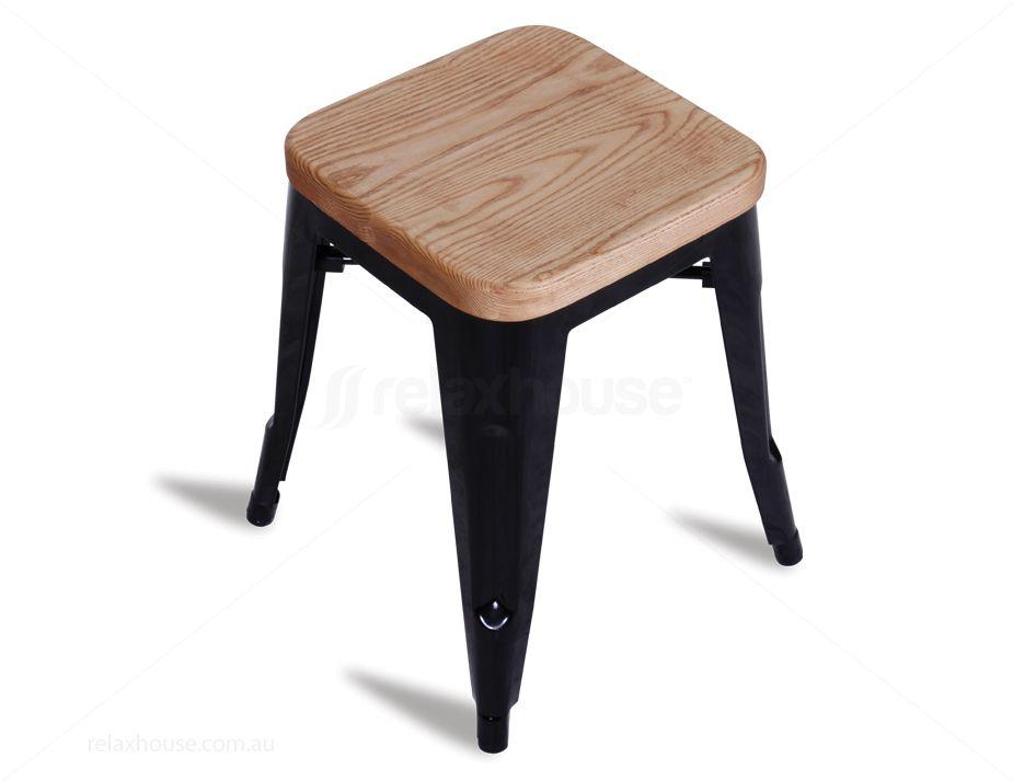 black tolix stool 45cm timber replica. Black Bedroom Furniture Sets. Home Design Ideas