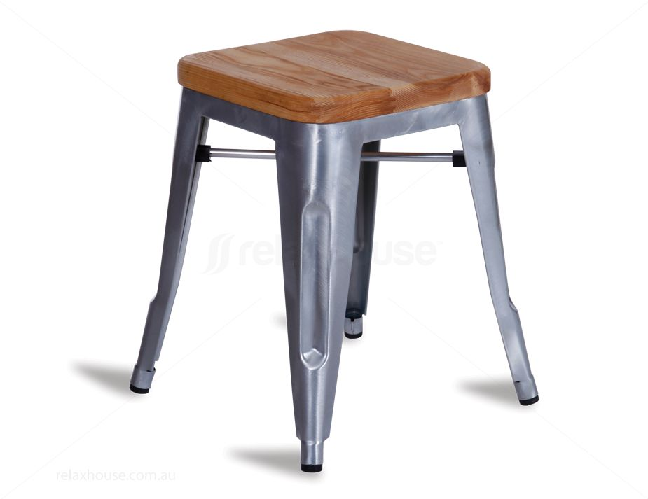 45cm timber tolix galvanised stool. Black Bedroom Furniture Sets. Home Design Ideas