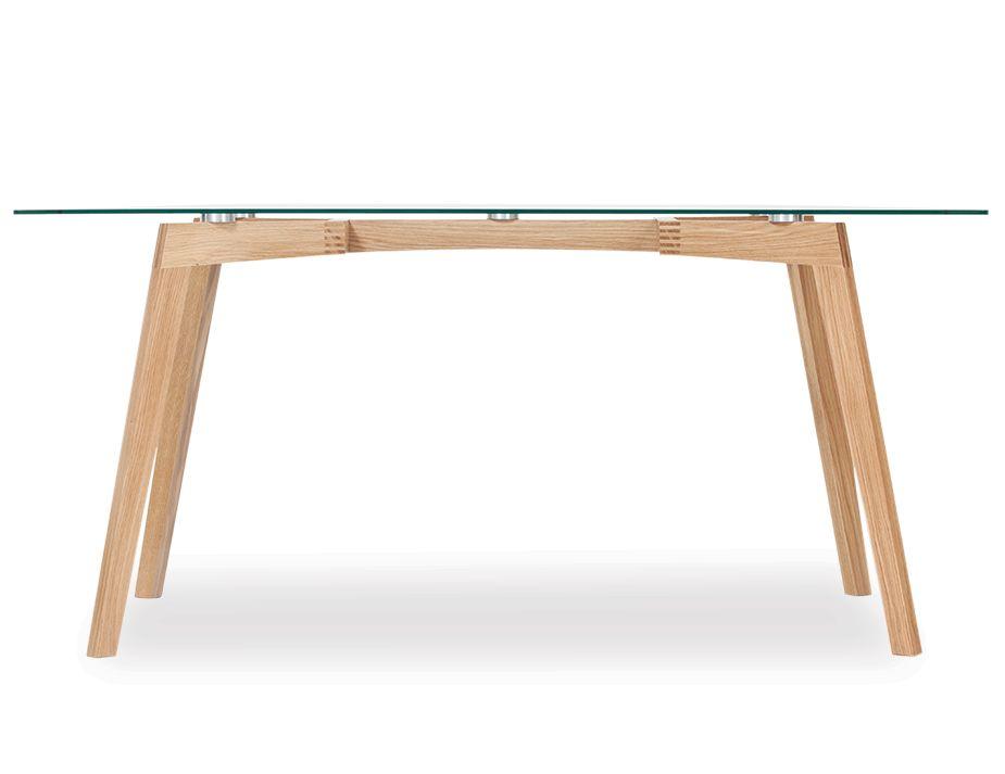 Designer Glass Dining Table Natural Solid Oak