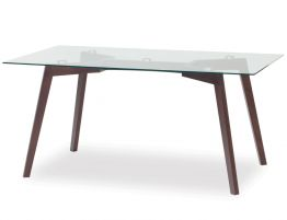 Solid Wood Glass Top Dining Table