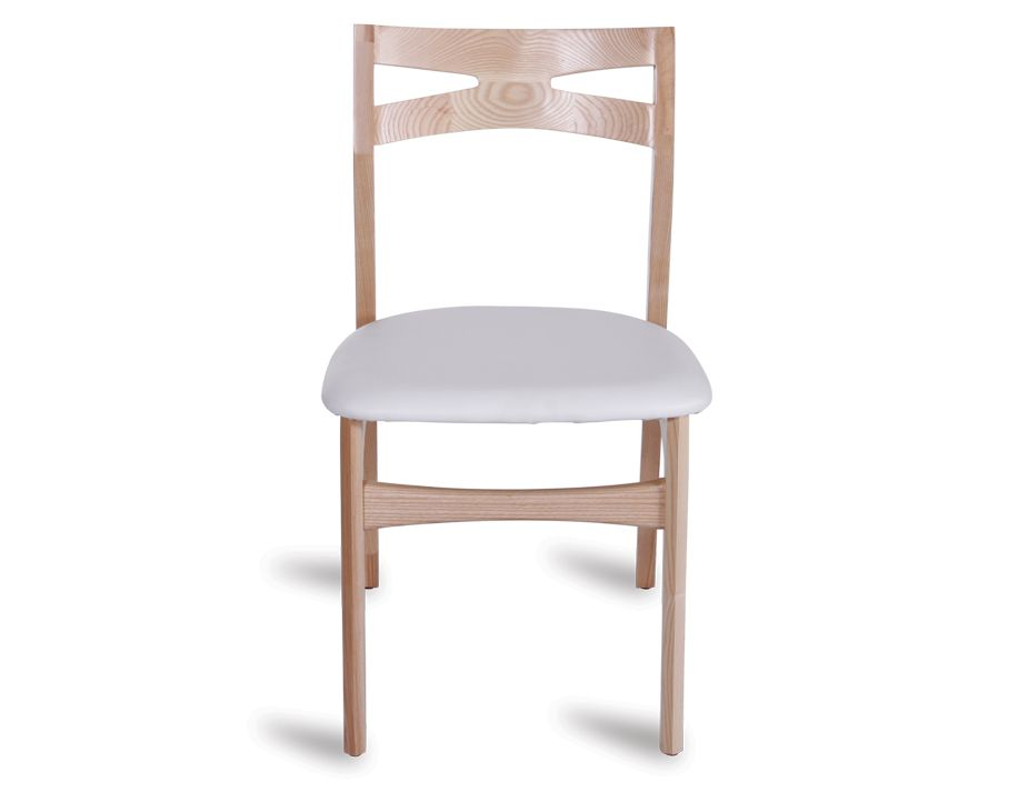 Solid Wood Danish Dining Chair With White Seat
