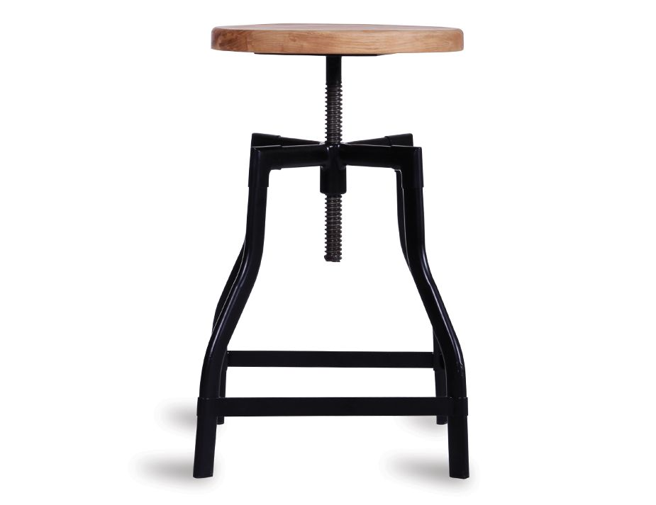 Black Turner Industrial Stool Solid Teak Wood Seat