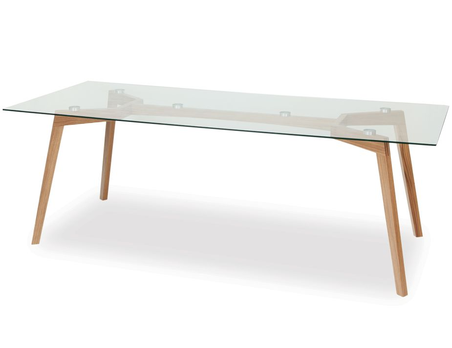 Solid Oak Wood Glass Dining Table
