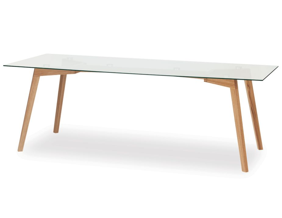 Solid oak wood glass dining table for Solid oak dining table