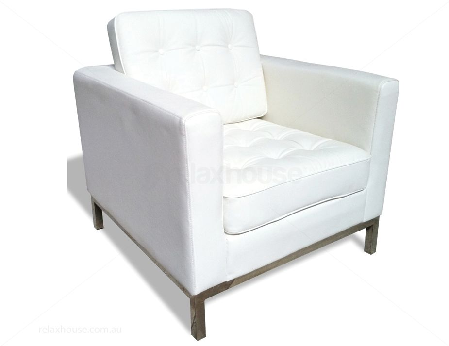 florence knoll lounge arm chair white leather replica
