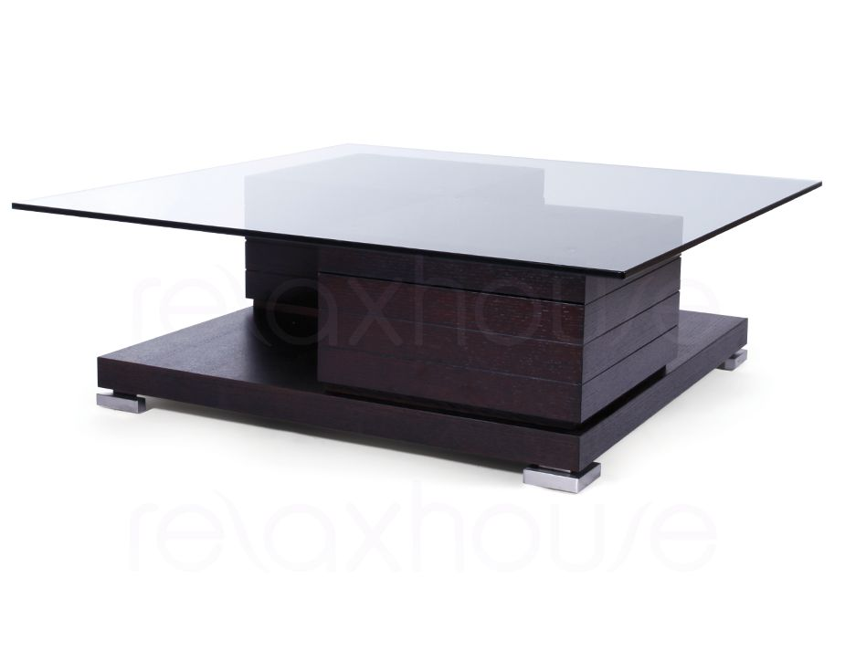 Square coffee table with tempered glass dark oak for Tempered glass coffee table