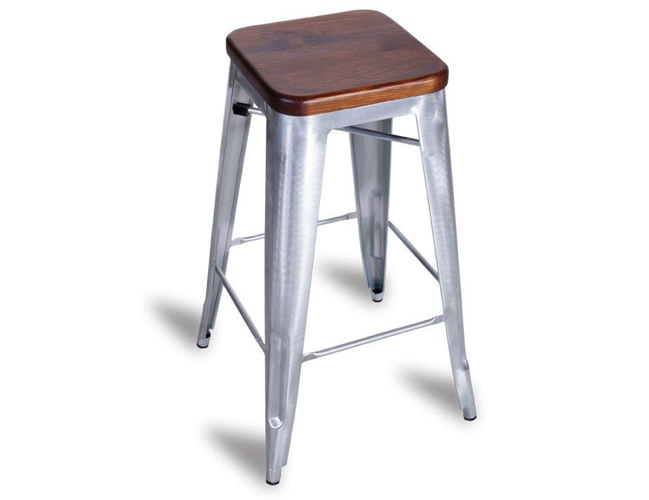 Industrial Galvanised Tolix Stool Dark Teak Wooden Seat : silver tolix stool from www.relaxhouse.com.au size 925 x 713 jpeg 36kB