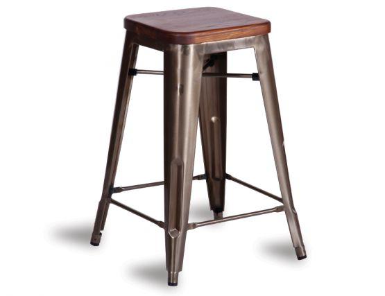 dark stained solid teak tolix bar stool. Black Bedroom Furniture Sets. Home Design Ideas