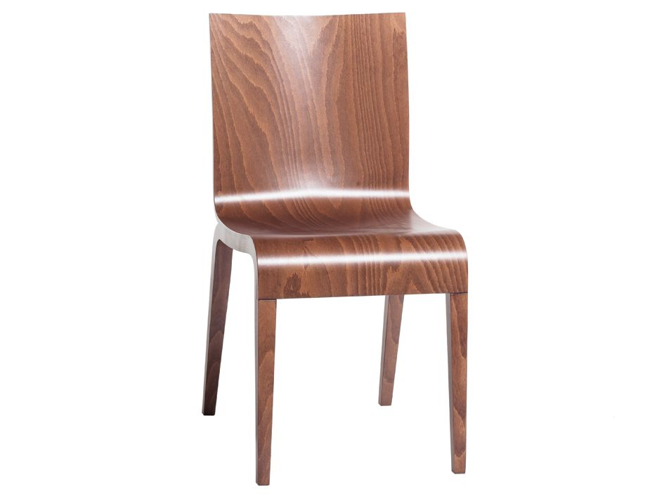 Simple Walnut Stained Beechwood Timber Dining Chair