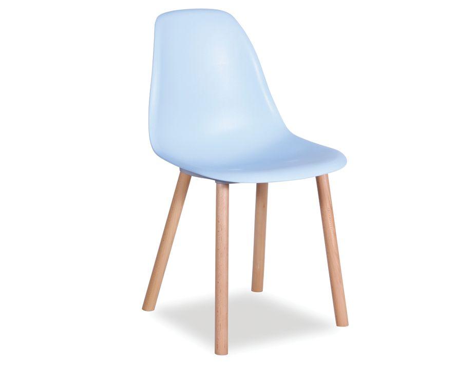 Modern Blue Danish Chair Solid Wood Legs