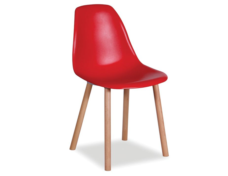 Solid timber legs modern retro red dining chair for Red modern dining chairs