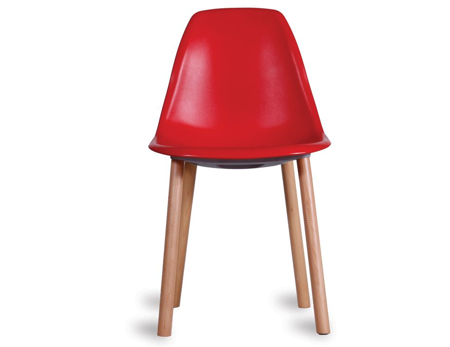 Solid timber legs modern retro red dining chair for Retro modern dining chairs