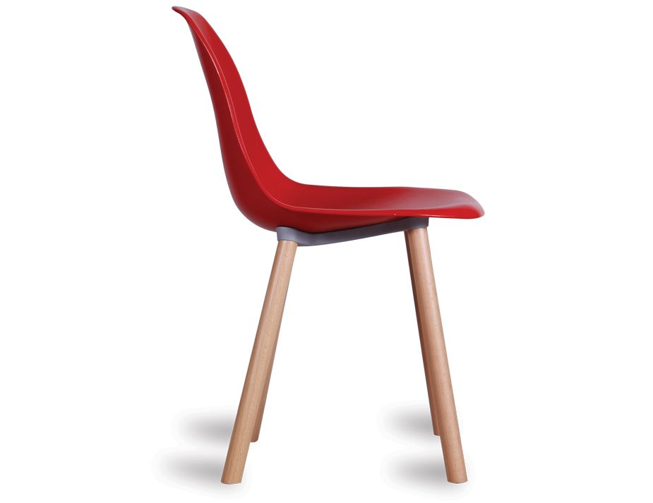 solid timber legs modern retro red dining chair