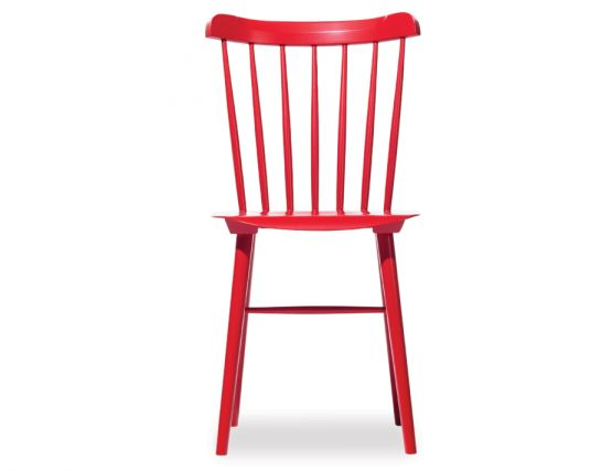 European Red Spindle Wooden Ironica Chair By Ton