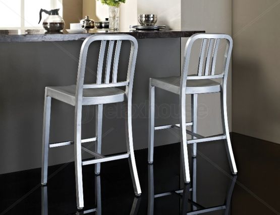 Us Navy Replica Aluminium Bar Stool Brushed