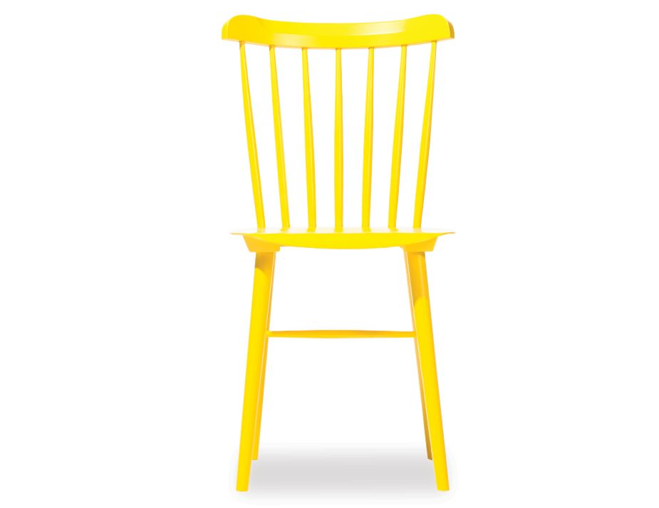 ironica spindle back timber dining chair in yellow