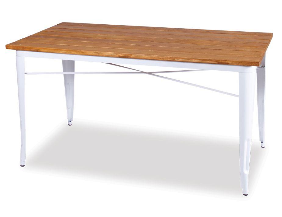 xavier pauchard tolix table white solid teak wood replica. Black Bedroom Furniture Sets. Home Design Ideas